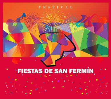 Spain fiestas or festivals abstract poster. Spanish San Fermin Festivals, wallpaper. The running of the bulls is the main attraction in this famous celebration, Pamplona fiesta. Vector illustration. Fireworks, music fest background. stock vector