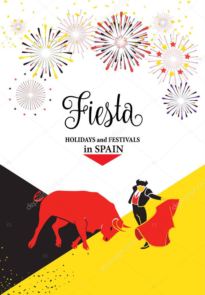 Spain fiestas or festivals abstract poster. Spanish San Fermin Festivals, wallpaper. The running of the bulls is the main attraction in this famous celebration, Pamplona fiesta. Vector illustration. Fireworks, blood drops background. stock vector