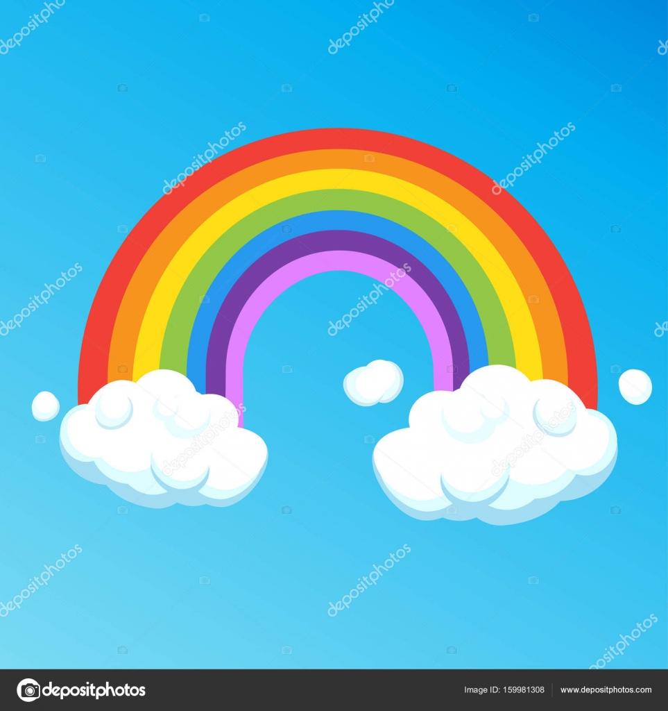 regenboog met wolken ge239soleerd op de blauwe