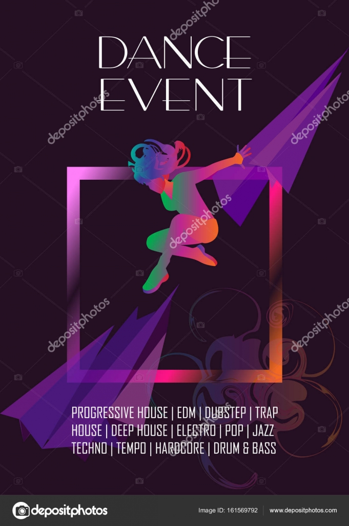 Dancer Woman Poster Dance Electronic Music Modern Dance Music Festival Disco Night Club Invitation Girl Silhouette Dancer Pop Music Performance Dance Artist Banner Brochure Cover Design Neon Color Abstract Background Dynamic Lines