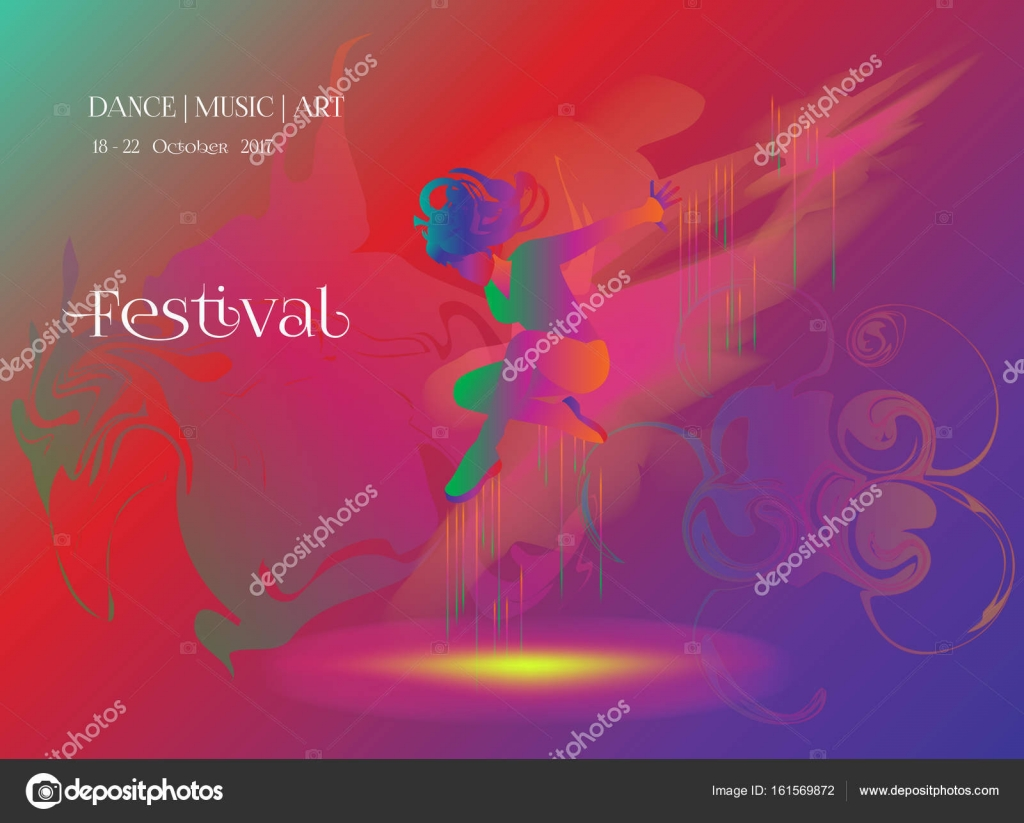 Dancer Woman Poster Dance Electronic Music Modern Dance Music Festival Disco Night Club Invitation Girl Silhouette