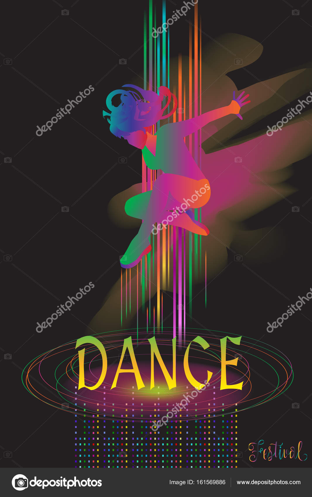 Dancer Woman Poster Dance Electronic Music Modern Dance Music Festival Disco Night Club Invitation Girl Silhouette