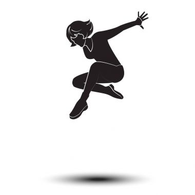 Woman Dancer, Beautiful woman dancer silhouette, Girl dancer isolated on white background. Modern dance. Vector illustration, drawing. Woman jumping. Happy people, jump. Fitness, sport, gymnastic, gymnast girl, gymnast woman. Vector disco woman dance