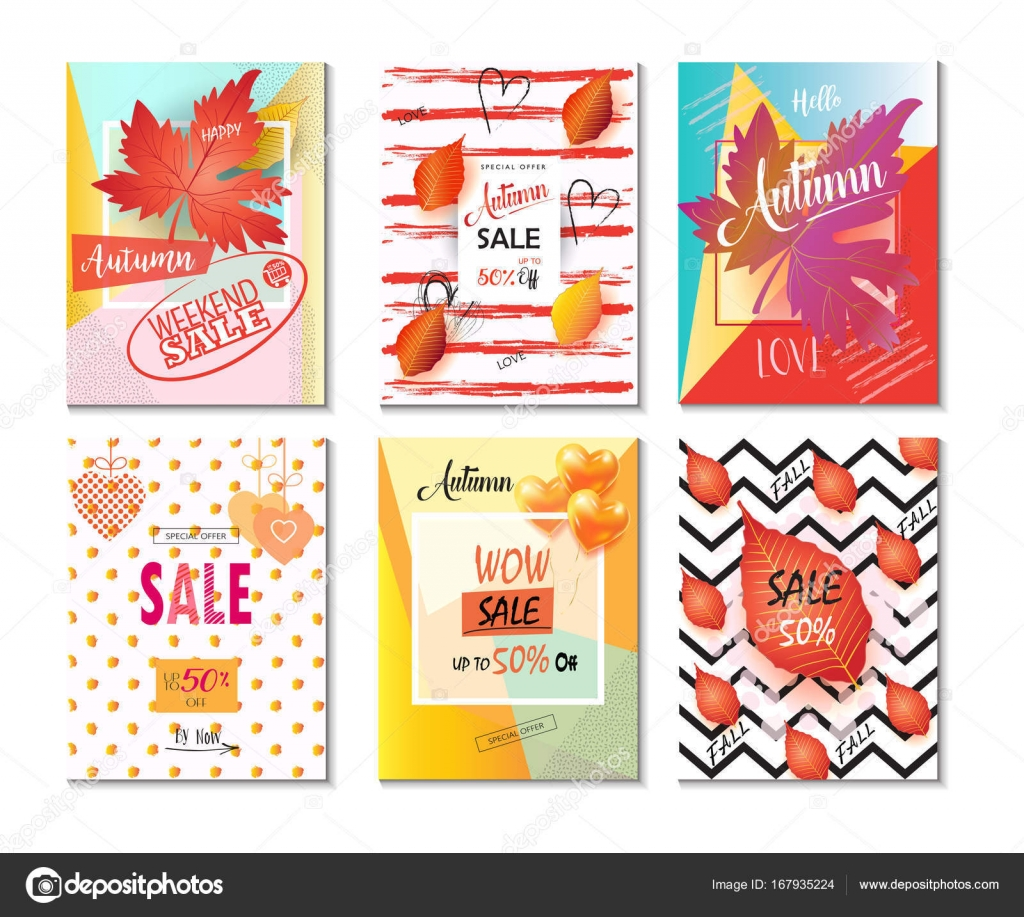 Mid season sale banners set. Autumn Sale discount gift card. Fall ...