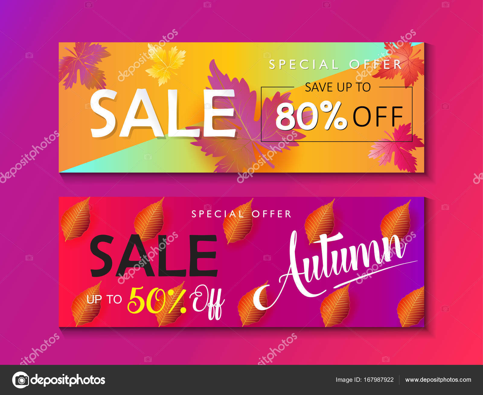 Mid season sale web banners set. Autumn Sale discount gift card ...