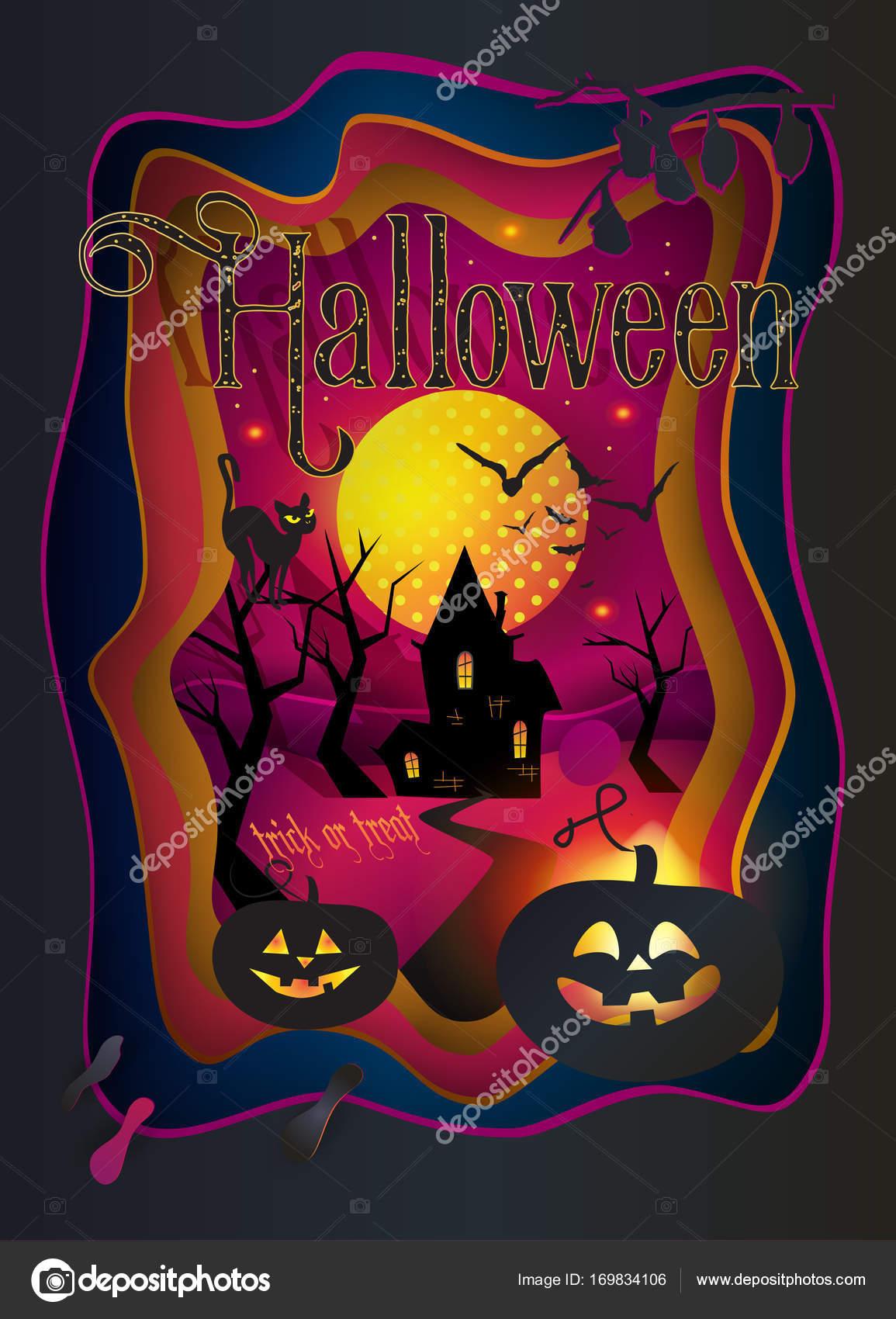 Cortar papel Feliz Halloween festivo antecedentes, marco de arte de ...