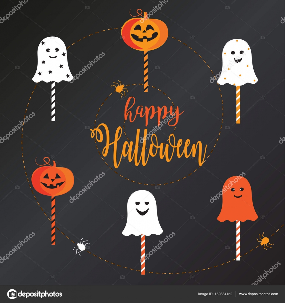 Halloween-Lutscher mit Popping Candy Sweet Halloween - Text Vektor ...