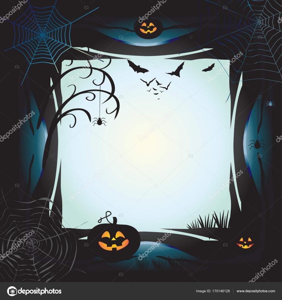 Halloween night background with pumpkin, bat, spider web, fantasy ...
