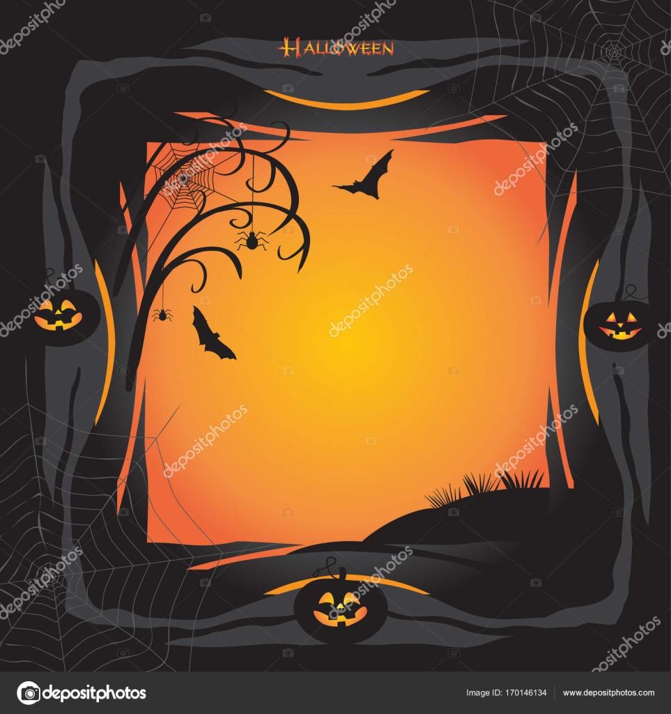 Halloween Nacht Hintergrund mit Kürbis, Fledermaus, Spinnennetz ...