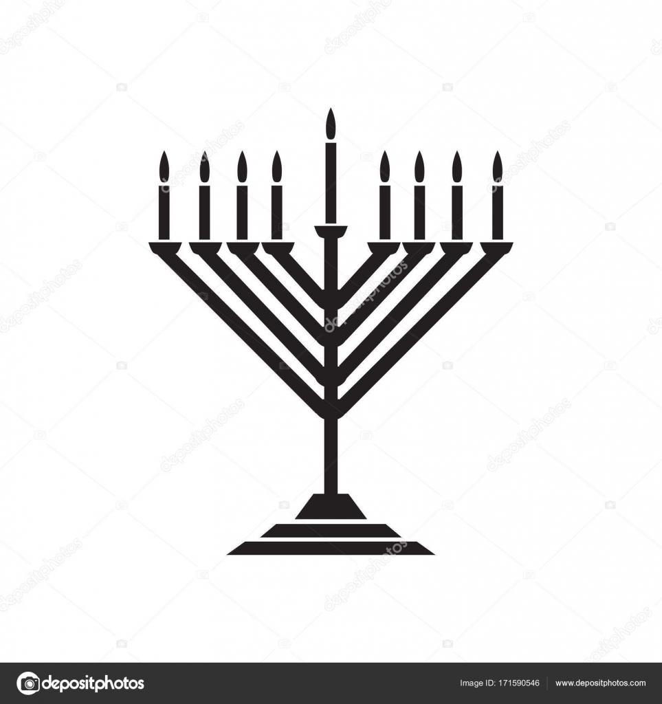 Menorah Jewish Holiday Hanukkah Logo With Traditional Chanukah