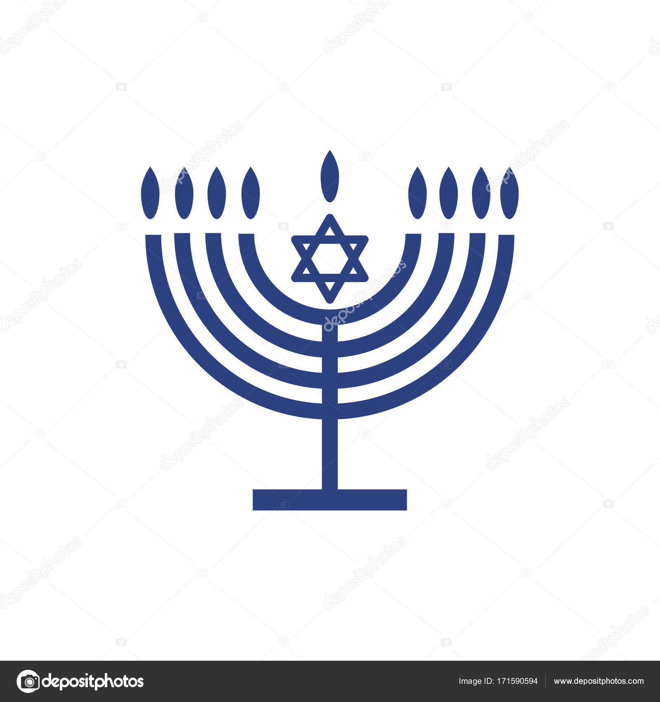 Hanukkah icon Menorah - candelabrum and candles sticker. Jewish holiday Hanukkah logo. Traditional Chanukah symbol menorah - candelabra candles ...  sc 1 st  Depositphotos & Hanukkah icon Menorah - candelabrum and candles sticker. Jewish ...