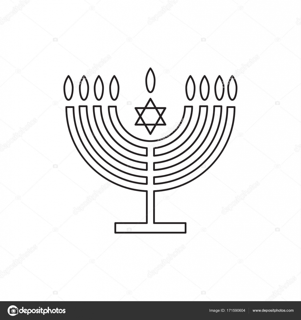 menorah jewish holiday hanukkah logo with traditional chanukah rh depositphotos com Hanukkah Menorah Diagram of the Tabernacle in the Bible