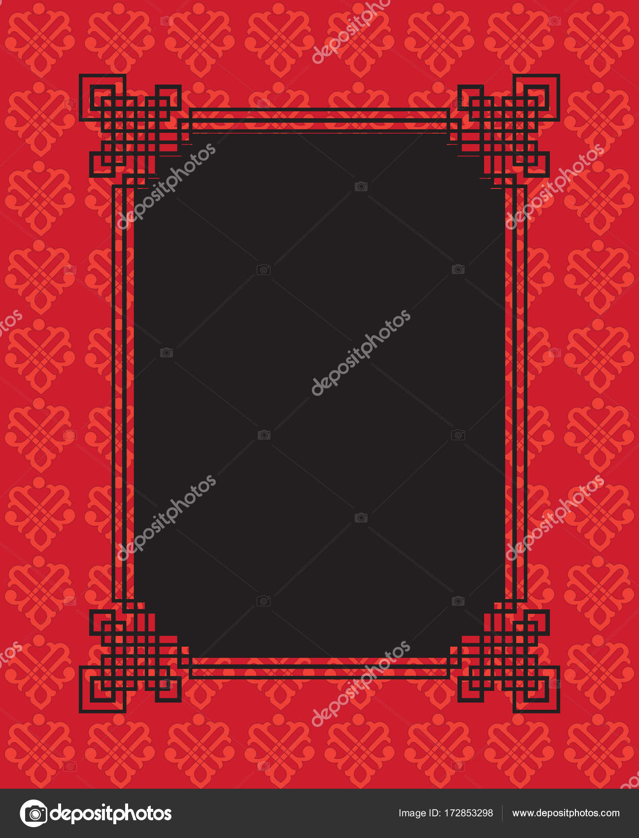 chinese happy new year greeting card decoration border traditional ornamental pattern black and red color background with floral geometric ornament