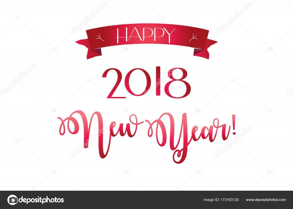 2018 logo red ribbon sign, Happy New Year, Christmas greeting card ...