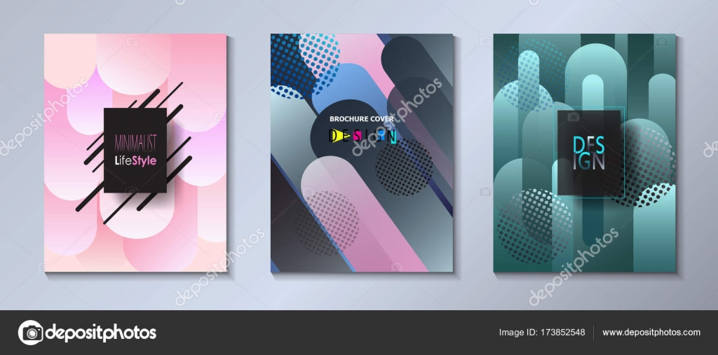e41c8ac95f422 Abstract modern covers template set Bauhaus, memphis and hipster style  graphic fluid color bubbles geometric elements.