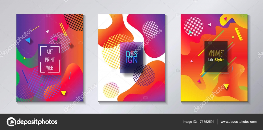 ca51c21d2a64e Abstract modern covers template set Bauhaus, memphis and hipster style  graphic fluid color bubbles geometric elements. Typography placards, Annual  report ...