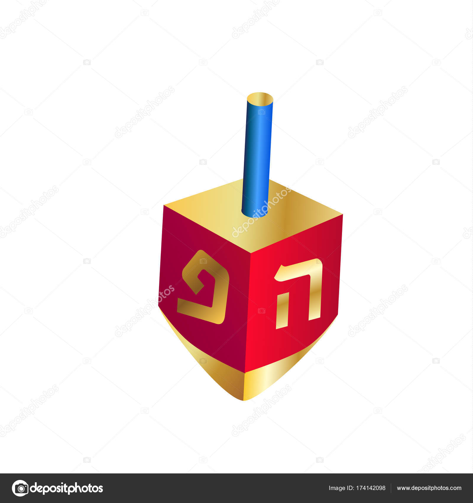 Dreidel Icon Hanukkah Festival Of Lights Gold And Red Menorah Lighting Diagram Happy Symbol Wooden Toy Spinning Top Isolated On White Background Vector Chanukah Jewish Holiday Flat Logo