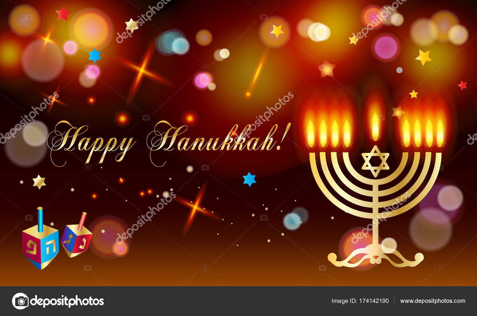 Happy hanukkah holiday greeting poster with menorah donuts happy hanukkah holiday greeting poster with menorah donuts traditional cookies dreidel spinning top m4hsunfo