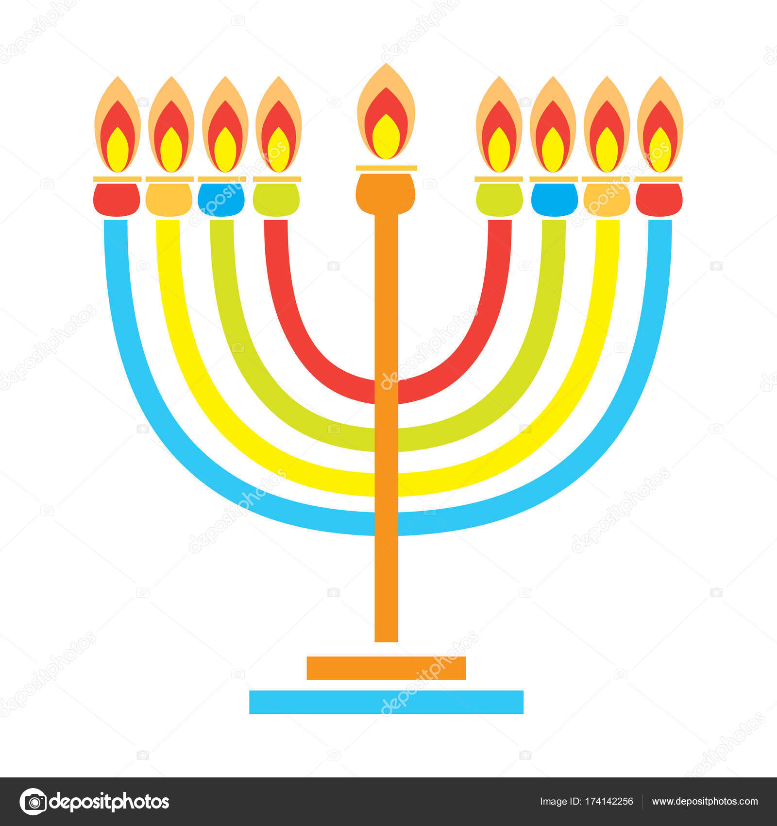 Happy Hanukkah Holiday Greeting Poster With Menorah Menorah