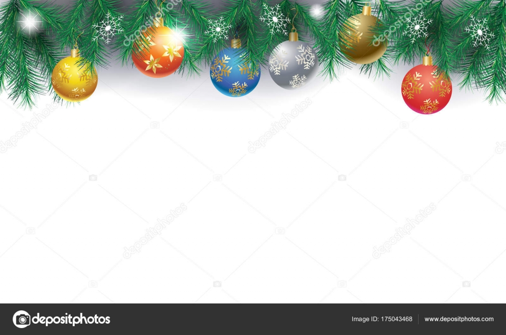 xmas border of fir twigs decorated with red yellow blue gold silver christmas baubles balls on white background with snowflakes falling