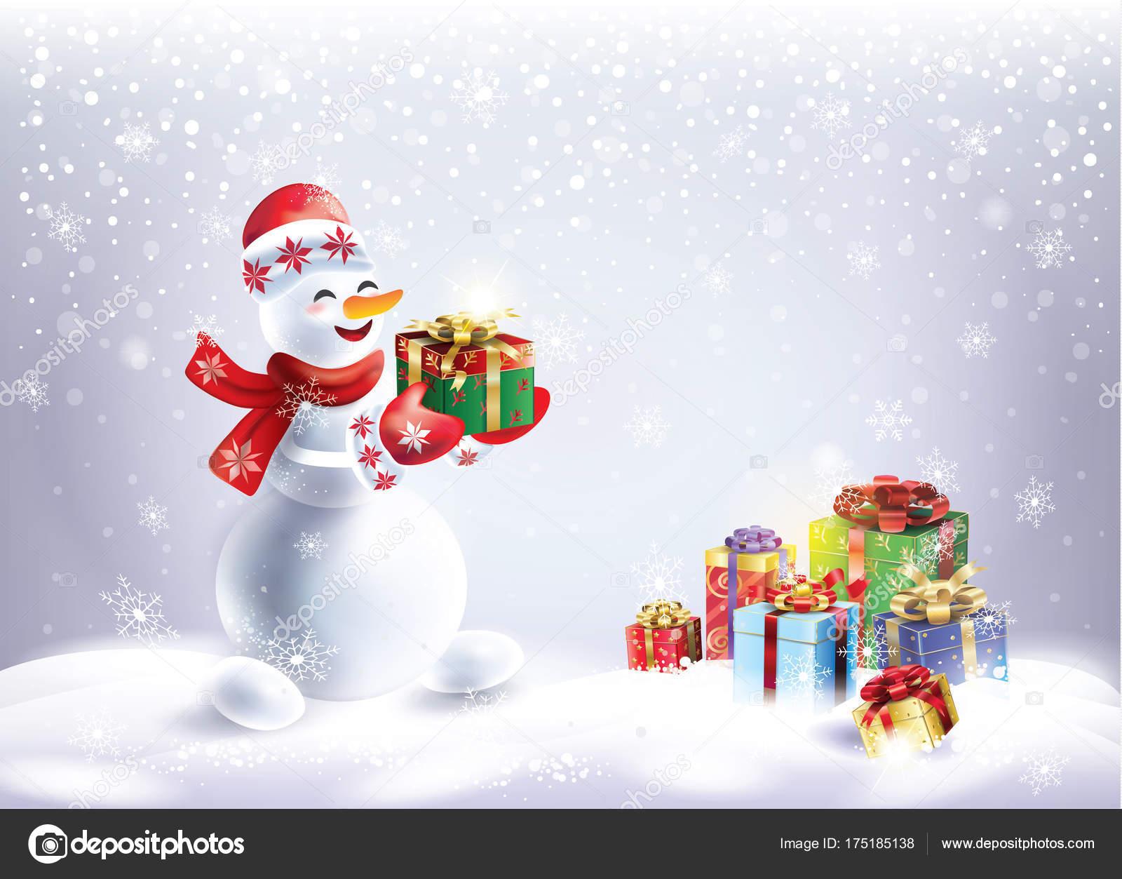 Snowman Christmas Snowy Landscape Snowman Gift Box Beautiful