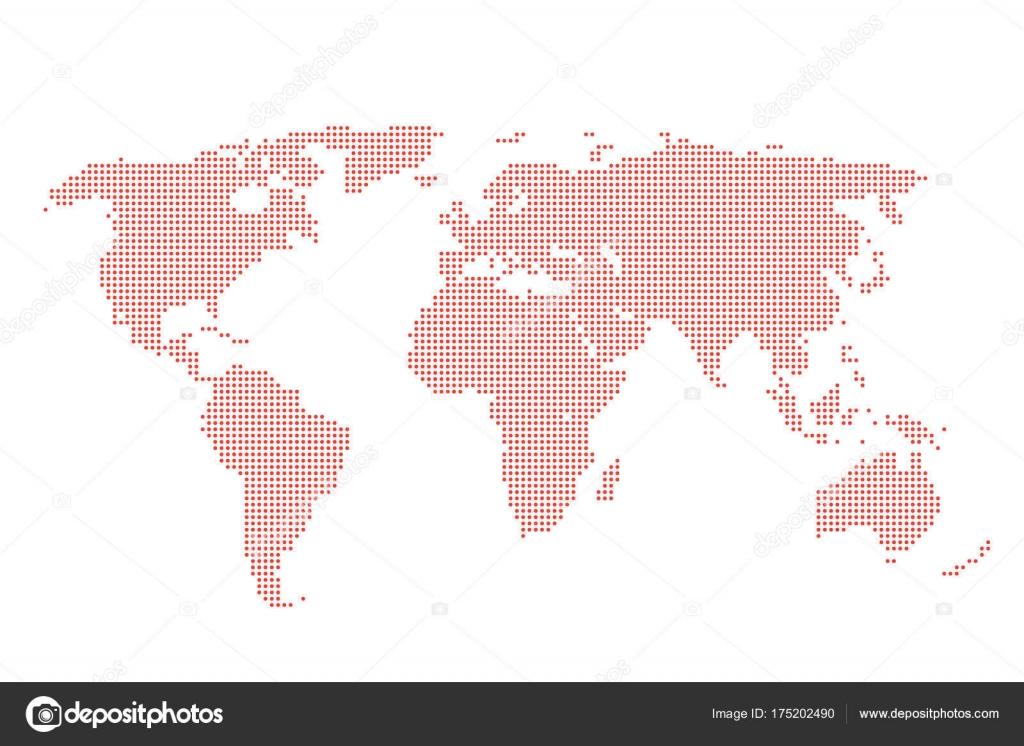 Behang Met Stippen : Kaart van wereld van rode stippen achtergrond gestippelde