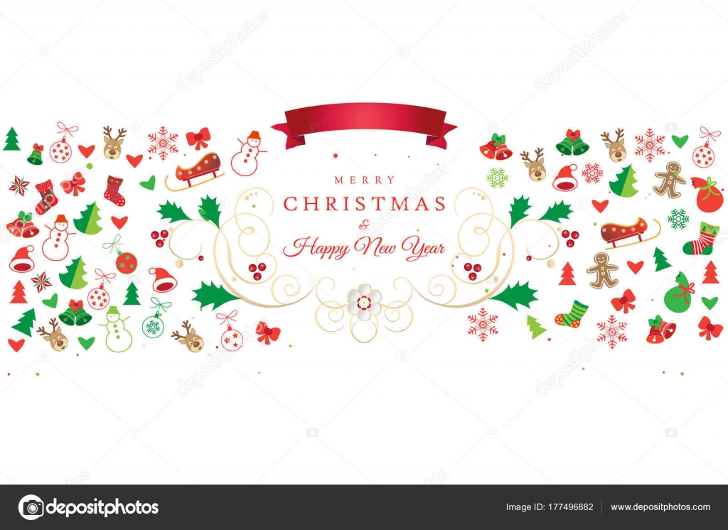 Christmas Happy New Year Greeting Card Christmas Symbols Ornament ...