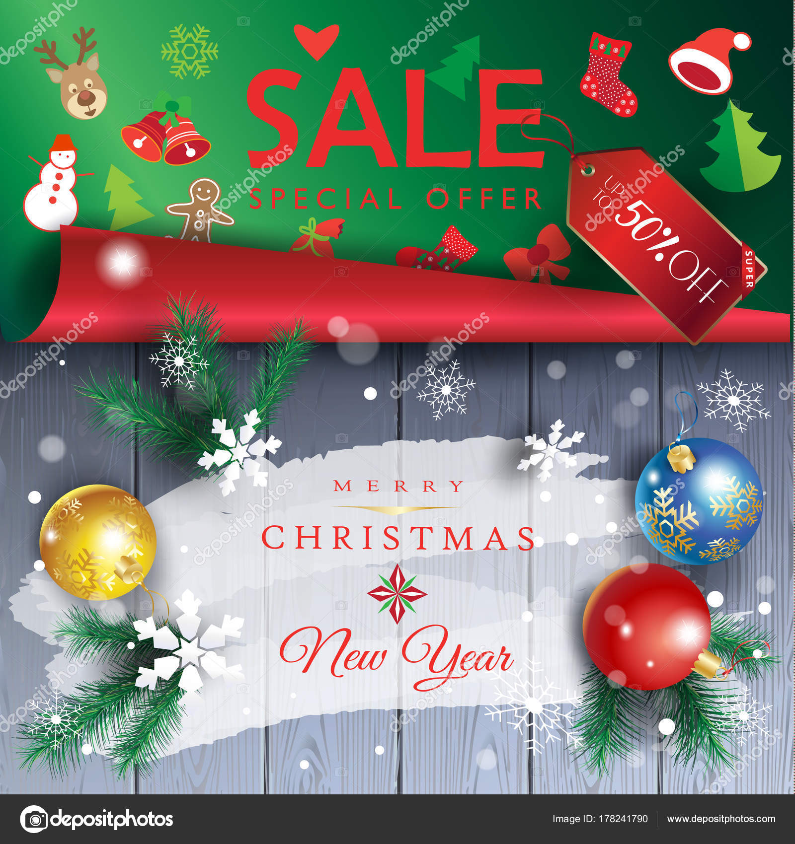 Sale Christmas Gift Card Winter Holiday Symbols Happy New Year ...