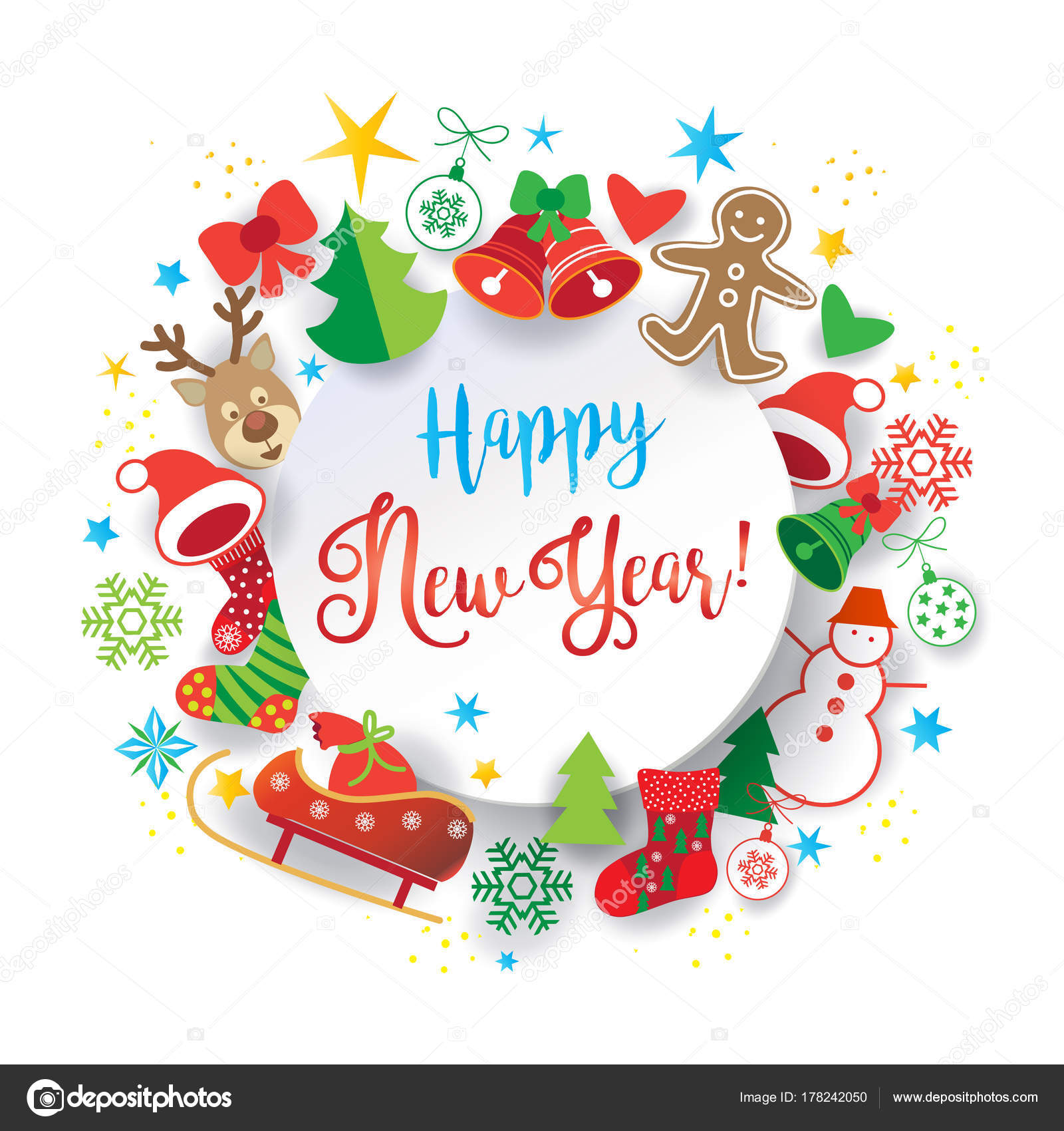 Christmas Winter Holiday Symbols Icons Greeting Card Happy New Year