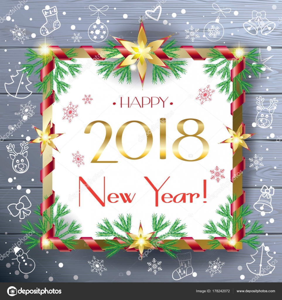 2018 Christmas Winter Holiday Greeting Card Happy New Year ...