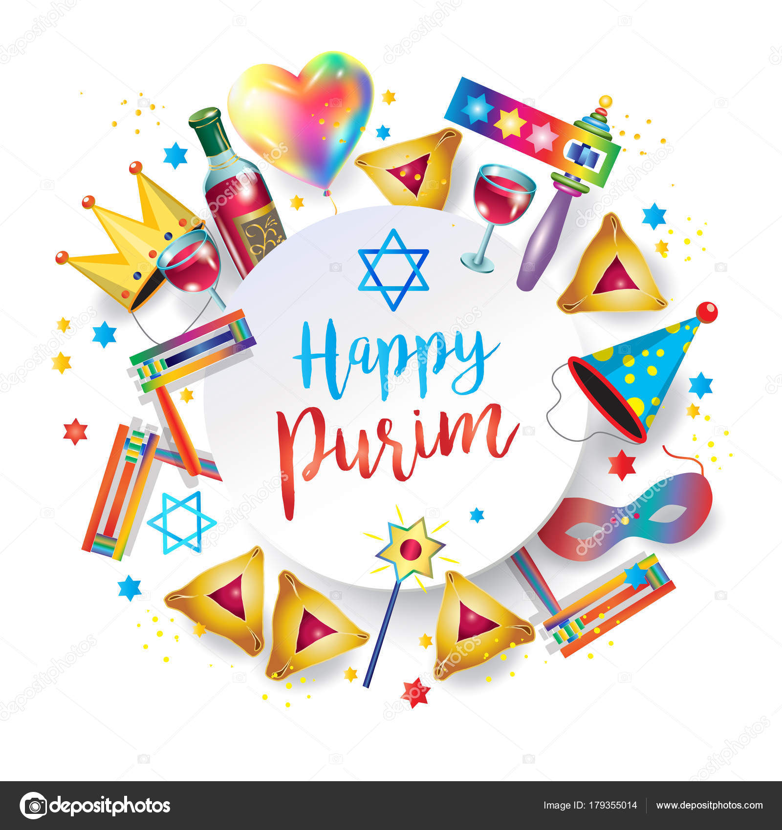 Happy purim jewish holiday greeting card traditional purim symbols happy purim jewish holiday greeting card with traditional purim symbols scroll banner purim gifts basket noisemaker masque gragger wine bottle m4hsunfo Image collections