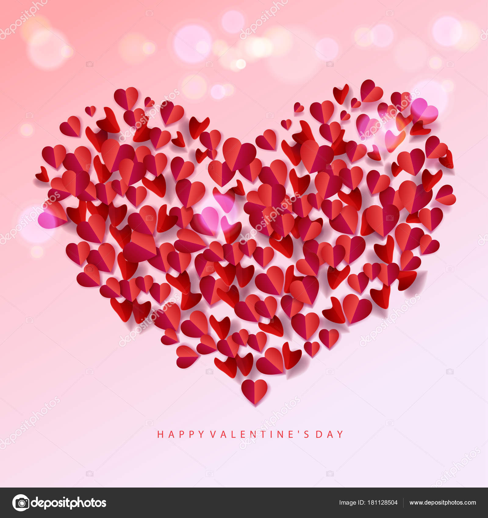 Happy Valentines Day Romance Background Heart Shapes Blurred
