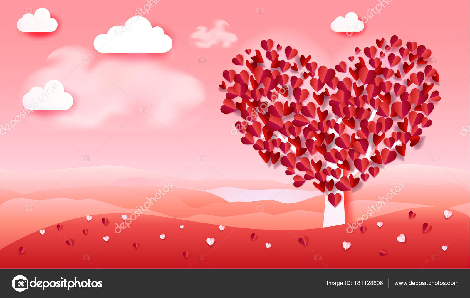 Happy Valentines Day Greeting Poster Love Tree Heart Shape Romance ...