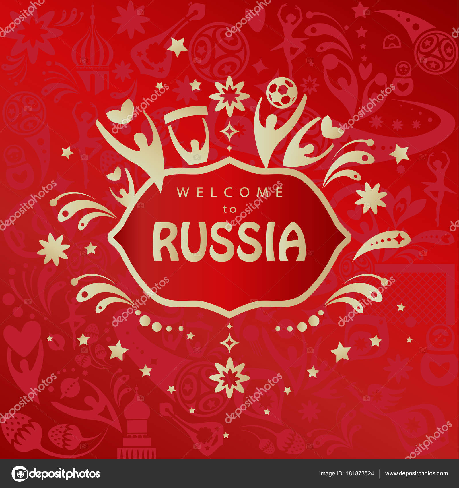 2018 world cup russia football welcome russia abstract invitation 2018 world cup russia football welcome to russia abstract invitation banner vector template russian folk art background with sports elements soccer ball stopboris Images