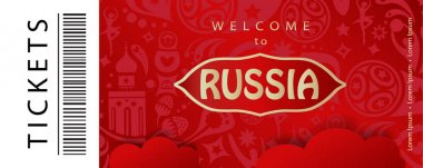 Welcome to Russia abstract red banner vector template. 2018 World Cup Russia football Tickets concept design, sport, travel, soccer symbols, fireworks. 2018 FIFA, soccer championship, competition, sports, icon, soccer ball, players, award icon, card