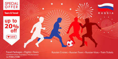 2018 World Cup Russia football poster, Welcome to Russia abstract banner, fireworks, soccer players silhouettes, dynamic modern vector template. Sale discount gift card, voucher, poster, travel, advertising, promotion, abstract background. fifa 2018