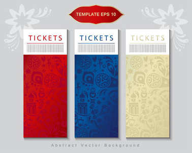 2018 World Cup Russia football tickets modern design concept, set. Welcome to Russia abstract banners vector template. Tickets concept design, soccer, football, sport, travel, symbols, fireworks. Soccer International tournament 2018 fifa, champion