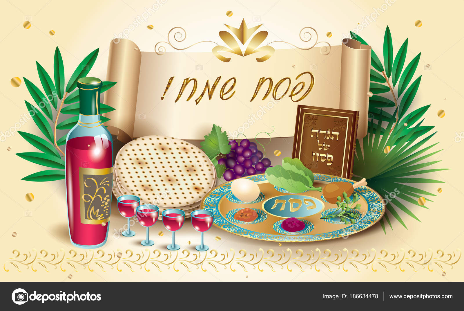 Happy passover holiday translate hebrew lettering greeting card happy passover holiday translate from hebrew lettering greeting card with decorative vintage floral frame four wine glass matza jewish traditional m4hsunfo Choice Image