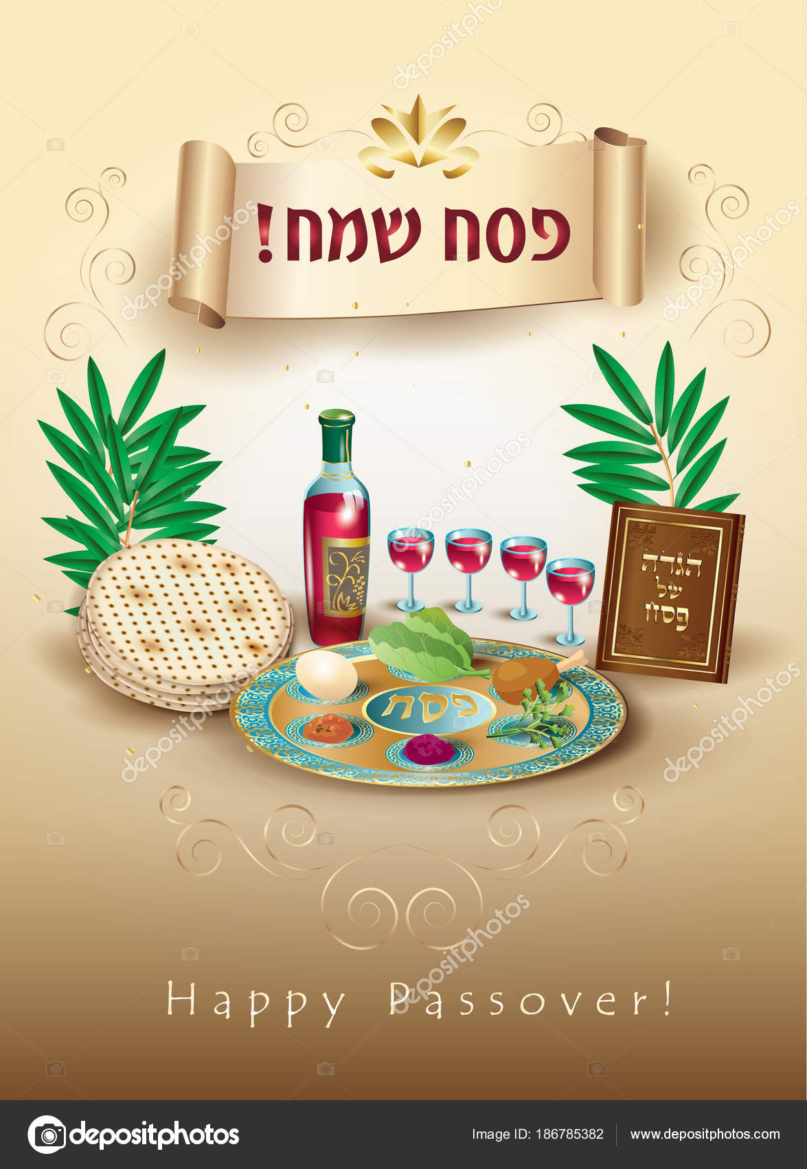 Happy passover holiday translate hebrew lettering greeting card happy passover holiday translate from hebrew lettering greeting card with decorative vintage floral frame four wine glass matzah jewish traditional m4hsunfo