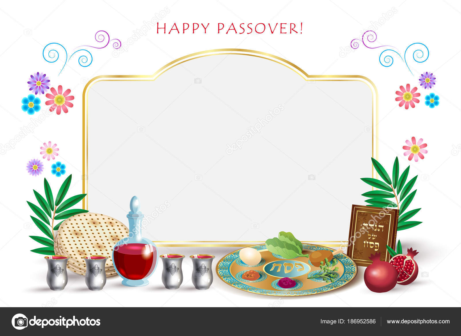 Happy Passover Lettering Jewish Holiday Symbols Icons Four Wine