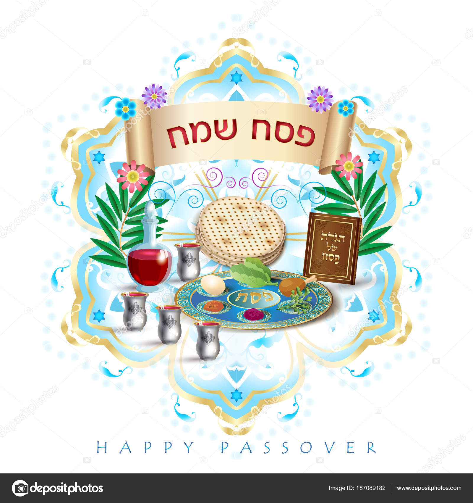 Happy passover hebrew lettering jewish holiday symbols icons set happy passover hebrew lettering jewish holiday symbols icons set four wine glass matza jewish traditional bread for passover festival passover plate kristyandbryce Images