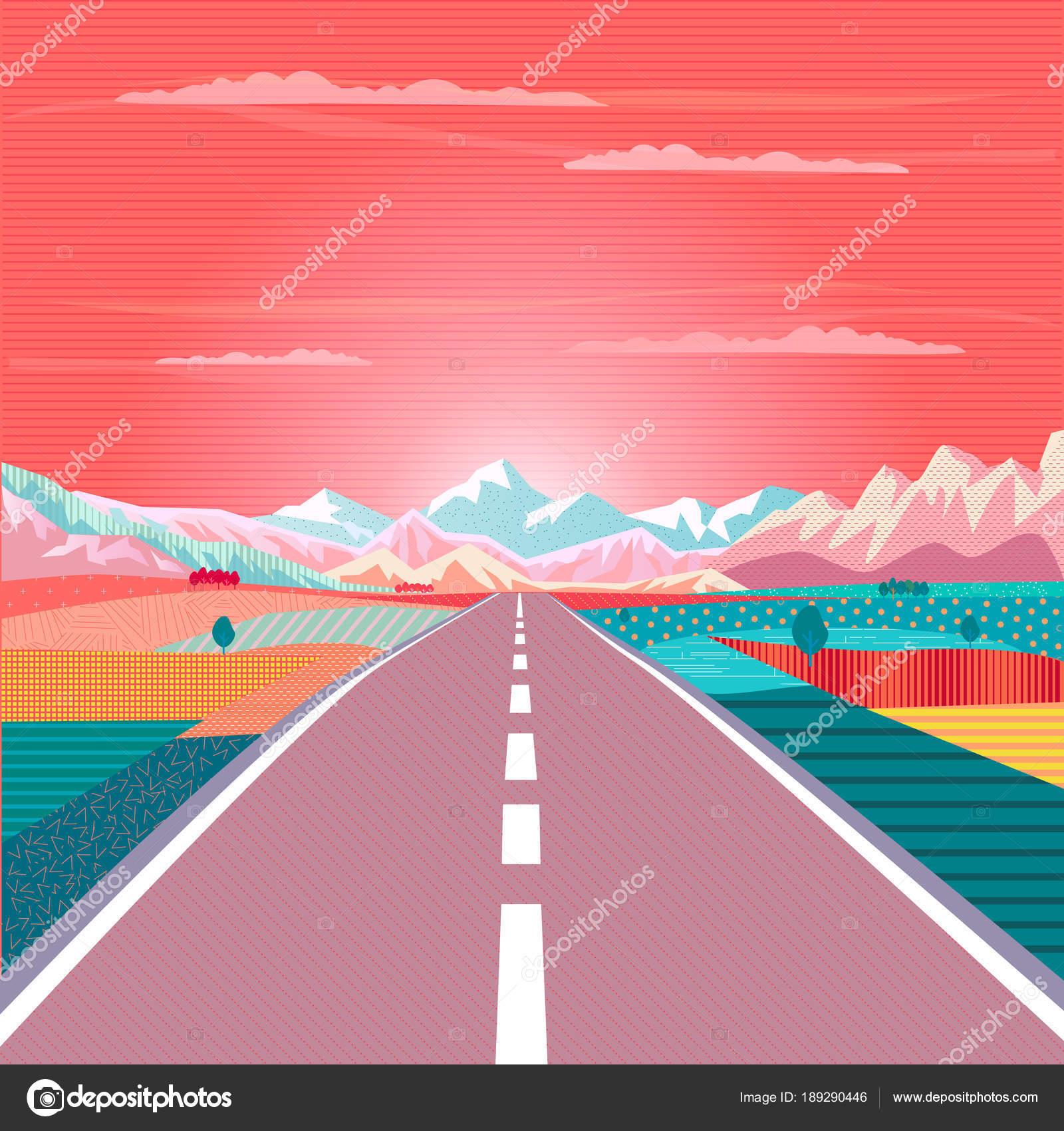 Manifesto Vettore Tramonto Dipinto Sul Tema Del Viaggio Strada