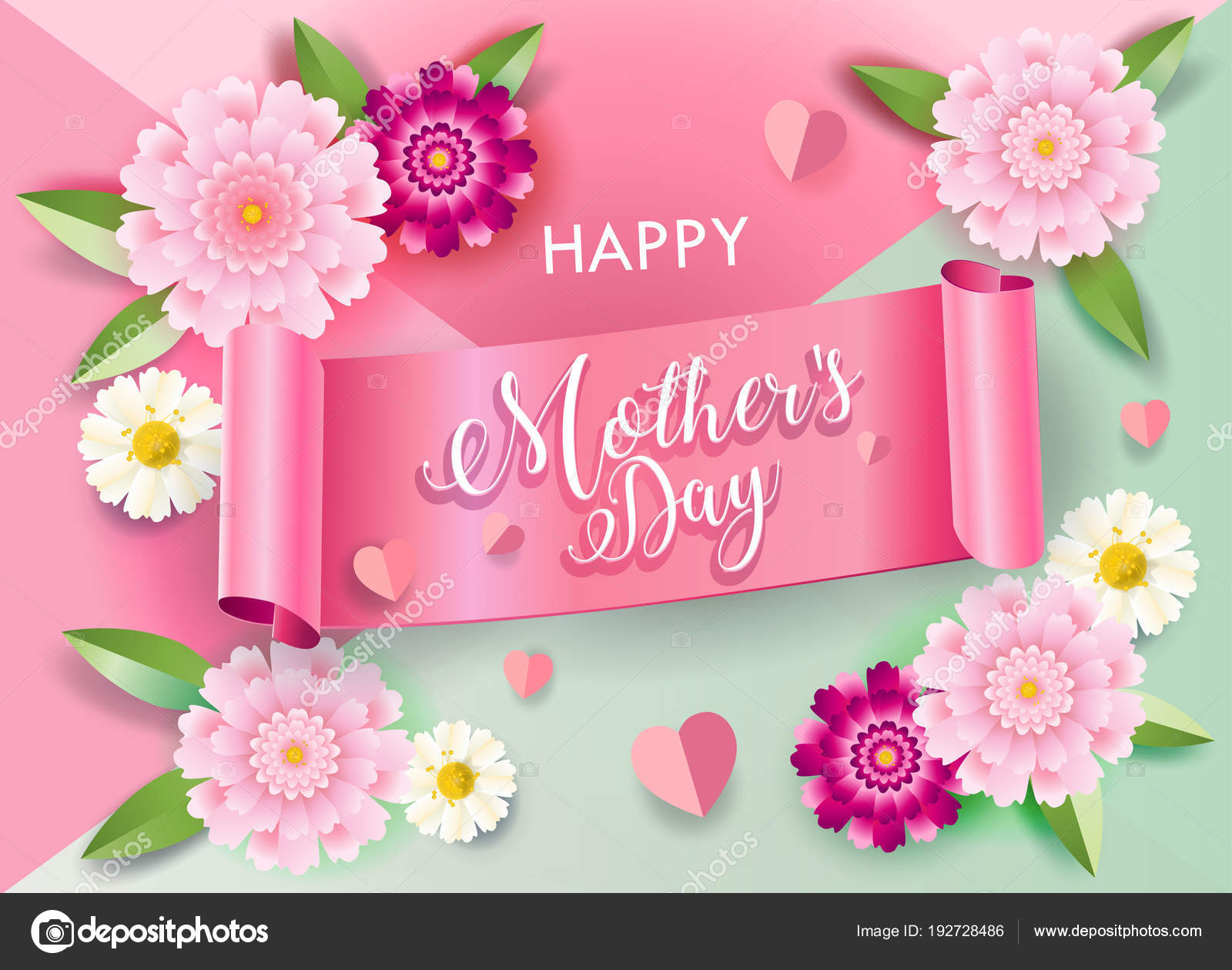 Mother day greeting card flowers ribbon banner hearts blossom mothers day greeting card with flowers ribbon banner hearts blossom ornament balloons hearts love symbols romance floral background m4hsunfo