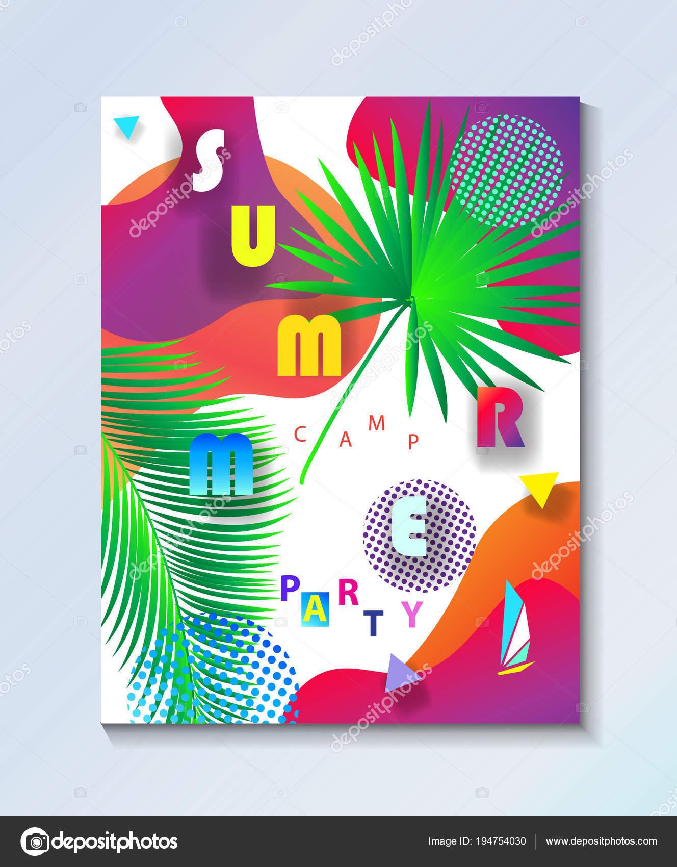 Tropical Abstracto Hola Verano Composición Burbujas Coloridas ...
