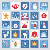 Weihnachts-Adventskalender. Countdown Poster. Winterurlaub Design Elemente