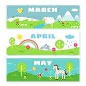 Fotografie Frühlingsmonate Kalender Flashcards Set. Natur, Reisen und Symbole Illustrationen