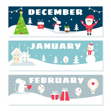 Winter Months Calendar Flashcards Set. Nature, Holidays and Symbols Illustrations