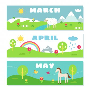 Spring Months Calendar Flashcards Set. Nature, Holidays and Symbols Illustrations