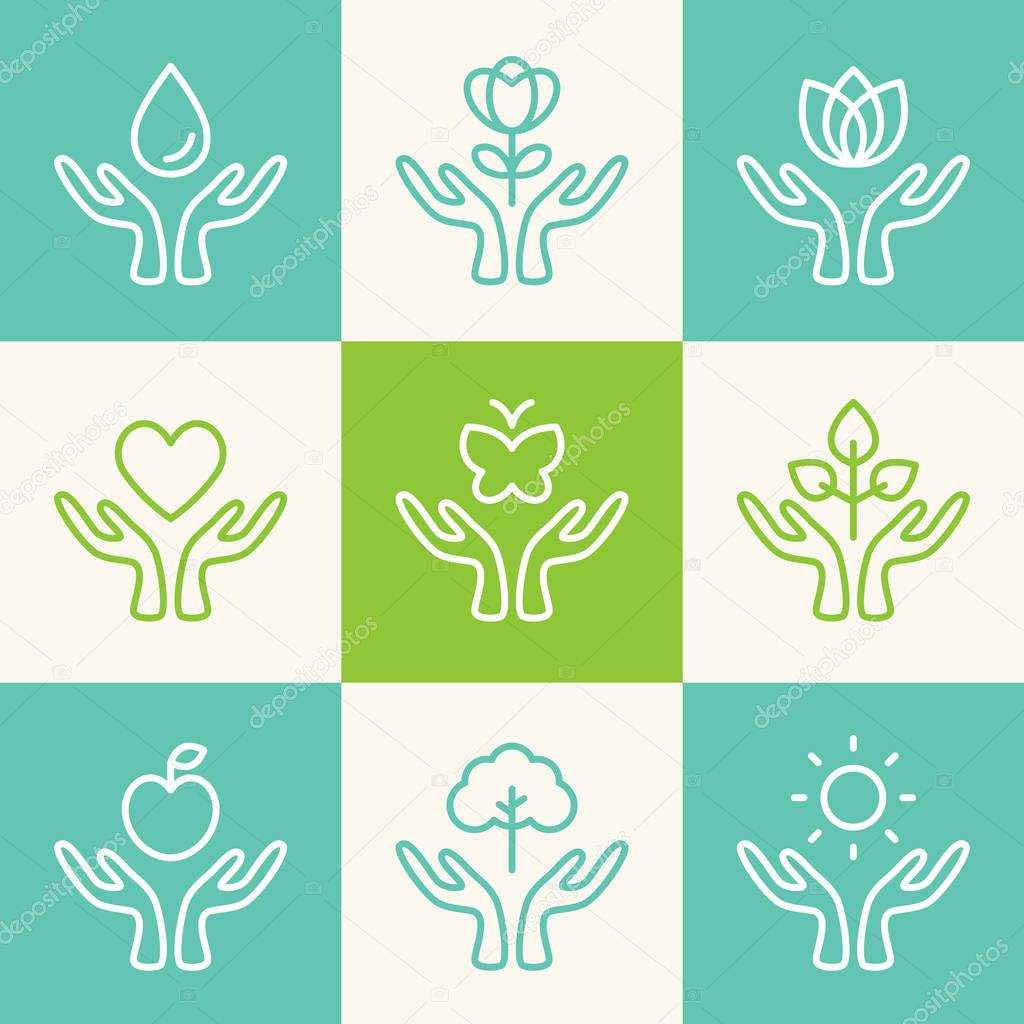Vector Set of Outline Signs. Caring Hands with Ecology, Charity, Freedom, Health and Wellness Theme