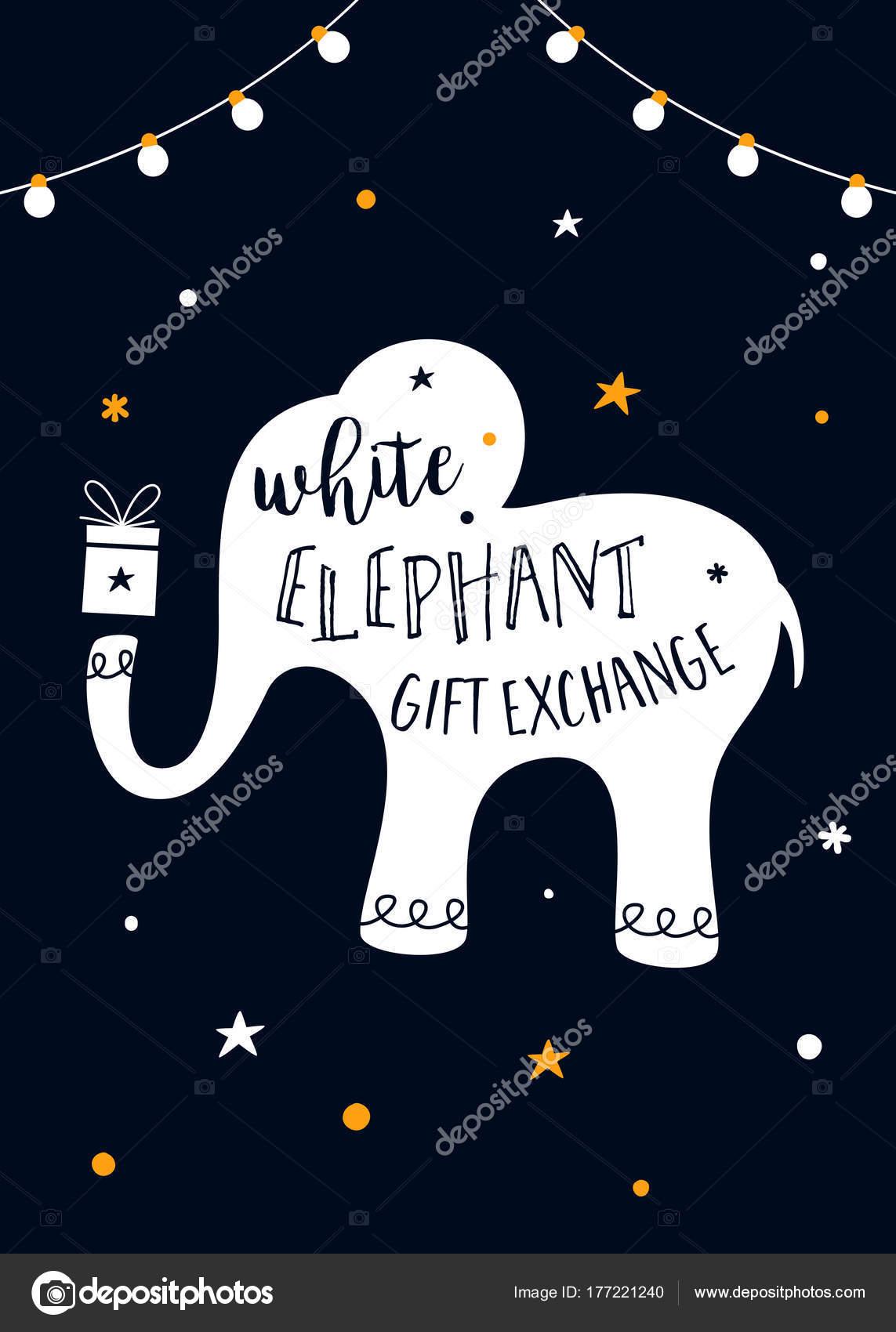Weißer Elefant-Geschenk-Austausch-Spiel Vektor-Illustration ...